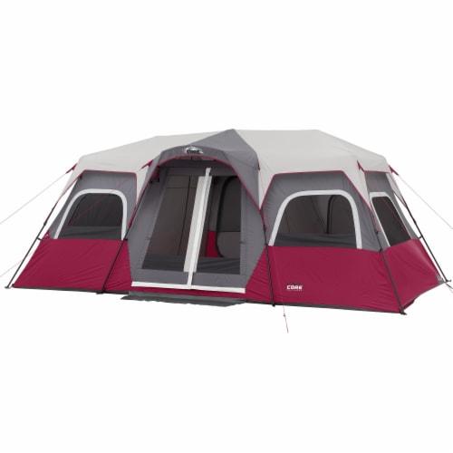CORE Equipment 12 Person 18 Feet x 10 Feet Double Door Instant Cabin Tent, Wine Perspective: front