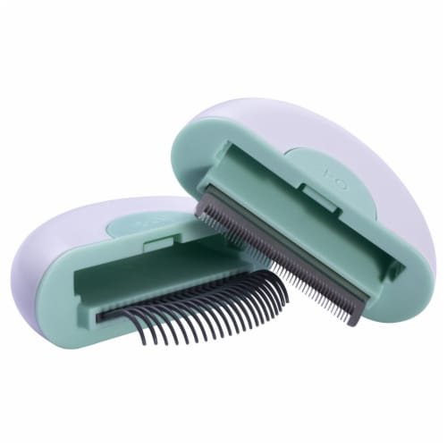 LYNX' 2-in-1 Travel Connecting Grooming Pet Comb and Deshedder - Large / Green Perspective: front