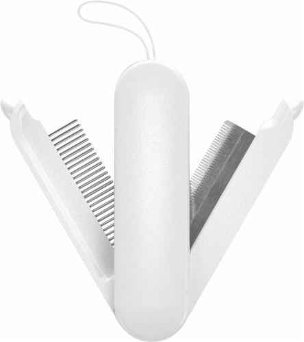 2-in-1 Swivel Travel Grooming Comb and Deshedder - One Size / White Perspective: front