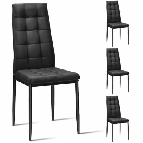 Gymax Set of 4 Kitchen Dining Side Chairs Fabric Cushion with Metal Frame High Back Perspective: front
