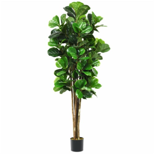 Gymax 6-Feet Artificial Fiddle Leaf Fig Tree Indoor-Outdoor Home Decorative Planter Perspective: front