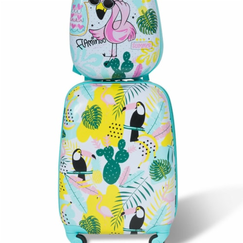 Gymax 2PC Kids Luggage Set Backpack & Rolling Suitcase Travel ABS Flamingos Perspective: front
