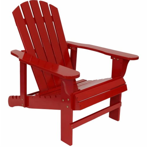 Sunnydaze Adirondack Chair with Adjustable Backrest Wood Outdoor Seat - Red Perspective: front