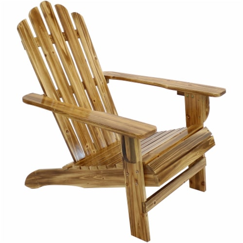 Sunnydaze Adirondack Chair Rustic Wood Design Outdoor Seat - Charred Finish Perspective: front