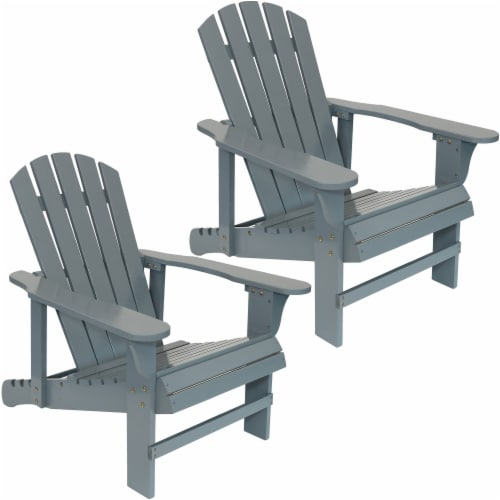 Sunnydaze Adirondack Chairs with Adjustable Backrest Wood - Gray Set of 2 Perspective: front
