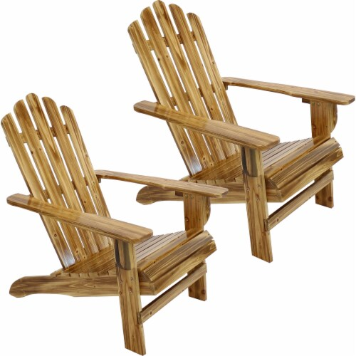 Sunnydaze Rustic Wooden Adirondack Chair with Light Charred Finish - Set of 2 Perspective: front