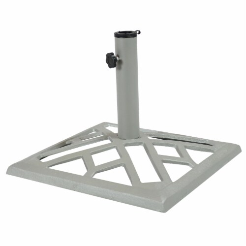 "Sunnydaze Cast Iron Gray Geometric Patio Umbrella Base/Stand - 17"" Square Perspective: front"