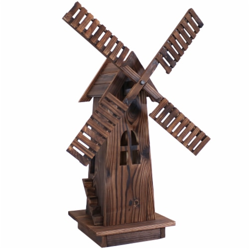 Sunnydaze Outdoor Decorative Wood Dutch Windmill - Lawn Decor - 34-Inch Perspective: front
