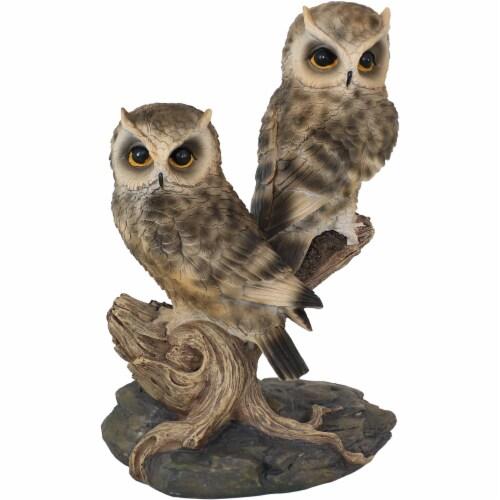 Sunnydaze Watchful Owls Outdoor Garden Statue - 13-Inch Perspective: front