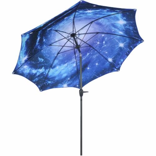 Sunnydaze Patio Market Umbrella Blue Starry Galaxy Design - Aluminum - 8-Foot Perspective: front