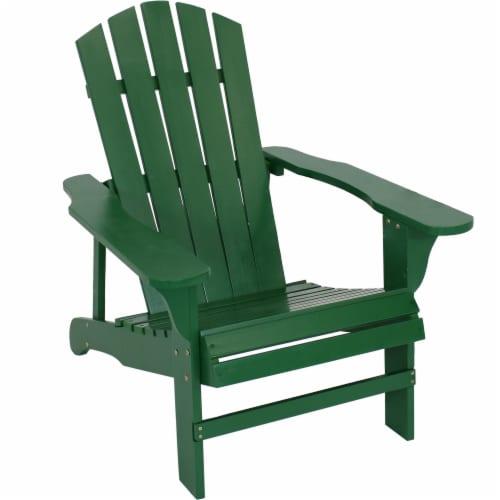 Sunnydaze Coastal Bliss Wooden Adirondack Chair - Green Perspective: front