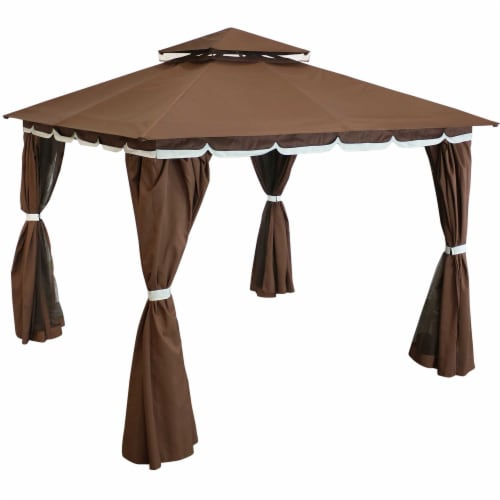 Sunnydaze Brown 10 x 10 Foot Gazebo with Screens and Privacy Walls Perspective: front