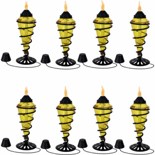 Sunnydaze Yellow Glass Outdoor Tabletop Torches - Fiberglass Wicks - Set of 8 Perspective: front