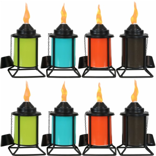 Sunnydaze Multi-Color Outdoor Backyard Patio Tabletop Metal Torches - Set of 8 Perspective: front