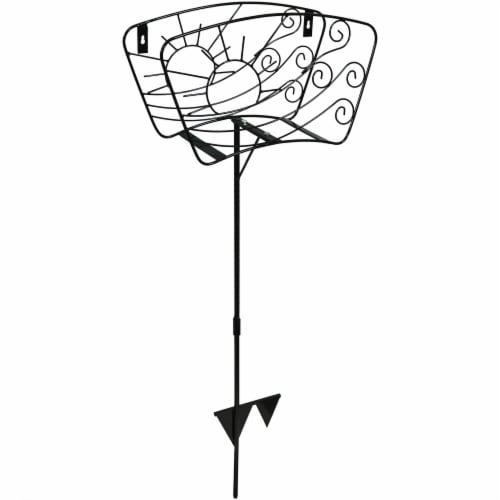 Sunnydaze Metal Garden Hose Stand - Windblown Sunrise Wire Design - 43-Inch Perspective: front