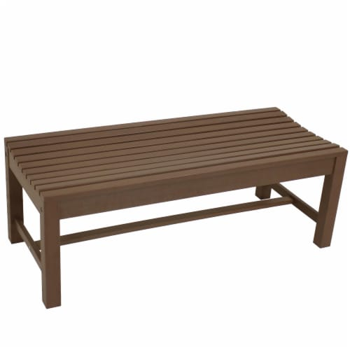Sunnydaze Shandon Outdoor Backless Garden Bench - 50-Inch - Brown Perspective: front