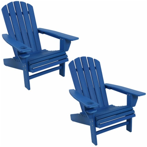 Sunnydaze All-Weather Blue Outdoor Adirondack Chair with Drink Holder - Set of 2 Perspective: front