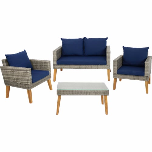Sunnydaze Clifdon 4-Piece Patio Furniture Set - Rattan and Acacia with Cushions Perspective: front