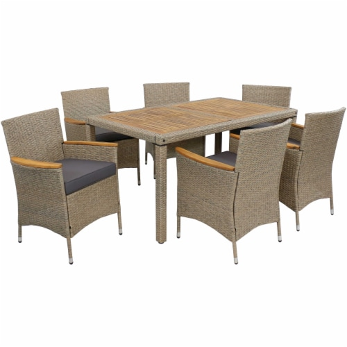 Sunnydaze Foxford 7-Piece Outdoor Dining Patio Furniture Set with Cushions Perspective: front