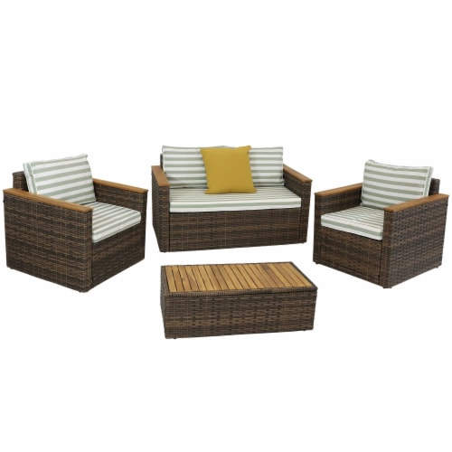 Sunnydaze Kenmare 4-Piece Patio Furniture Set - Rattan and Acacia with Cushions Perspective: front