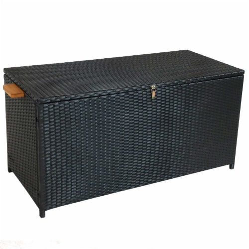 Sunnydaze Outdoor Storage Deck Box with Acacia Handles - Black Resin Rattan Perspective: front