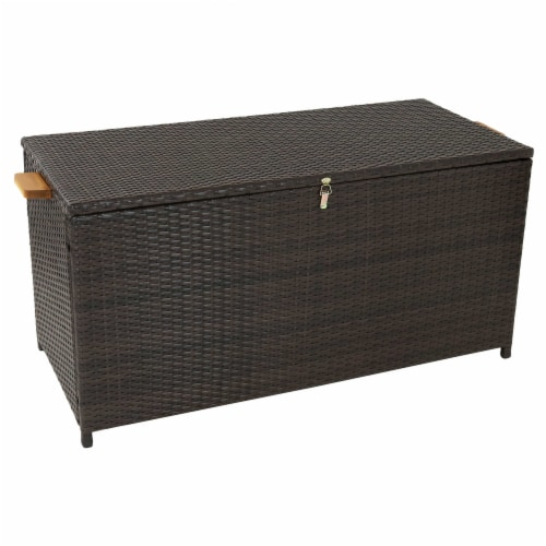 Sunnydaze Outdoor Storage Deck Box with Acacia Handles - Brown Resin Rattan Perspective: front