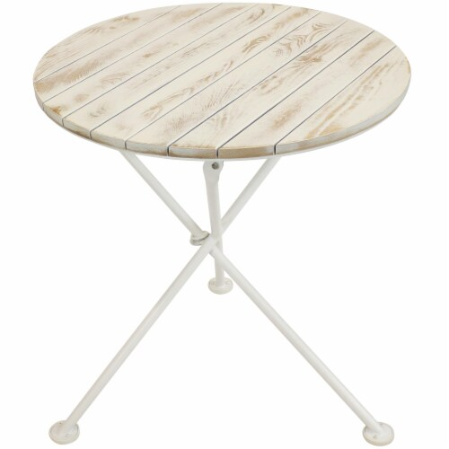 Sunnydaze French Country European Chestnut White Bistro Table - 28-Inch Round Perspective: front