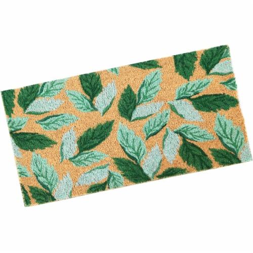 """Sunnydaze 17"""" x 29"""" PVC and Coir Indoor/Outdoor Doormat - Green Leaves Perspective: front"""