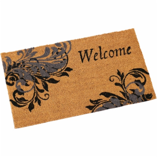 Sunnydaze 17-Inch x 29-Inch PVC and Coir Doormat - Blue Leaf Scroll Perspective: front