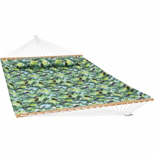 Sunnydaze 2-Person Fabric Spreader Bar Hammock and Pillow - Tropical Greenery Perspective: front