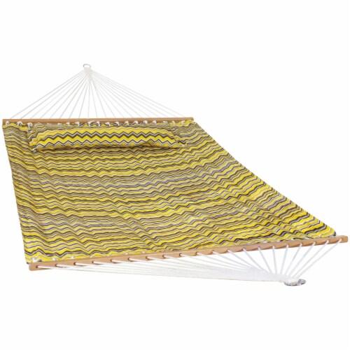 Sunnydaze 2-Person Fabric Spreader Bar Hammock and Pillow - Yellow Gray Chevron Perspective: front