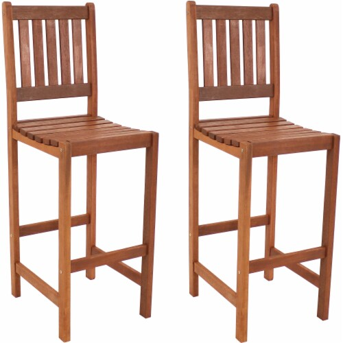 Sunnydaze Meranti Wood Bar Height Chairs - Set of 2 Perspective: front