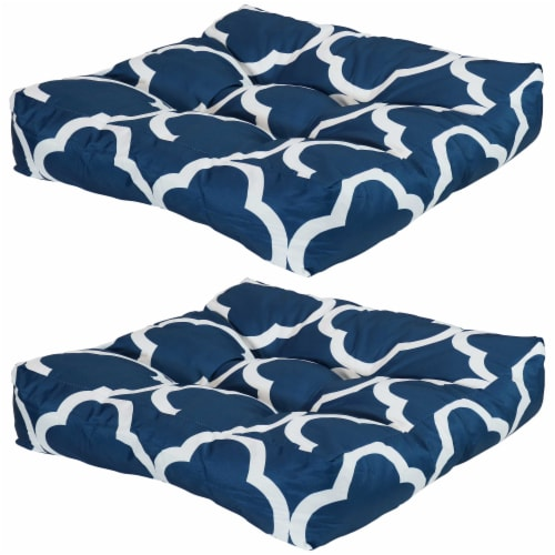 Sunnydaze Set of 2 Tufted Outdoor Seat Cushions - Navy Blue and White Quatrefoil Perspective: front