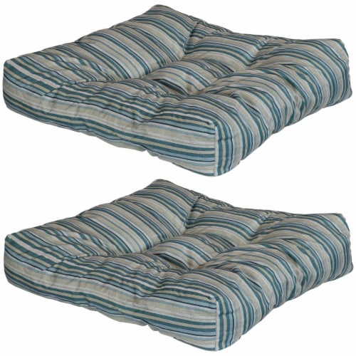 Sunnydaze Set of 2 Tufted Outdoor Seat Cushions - Neutral Stripes Perspective: front