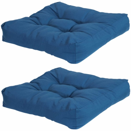 Sunnydaze Set of 2 Tufted Outdoor Seat Cushions - Blue Perspective: front