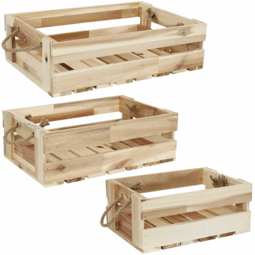 Sunnydaze Rectangle Acacia Wood Trays with Handles - Set of 3 Perspective: front
