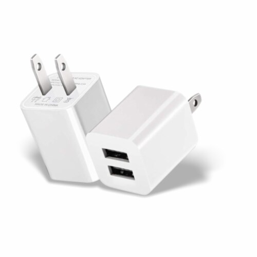 Ihip Dual Usb 2.1amp Wall Block Adapter Charger Perspective: front
