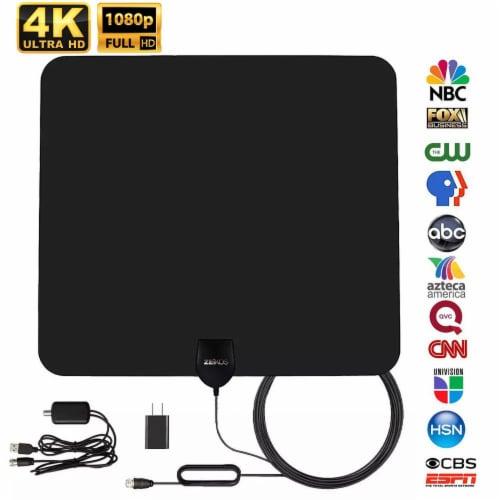 Amplified Hd Digital Tv Antenna Long 90 Miles Rang Perspective: front