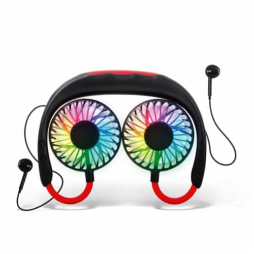 Ihip Wireless Earbuds Headphone With Led Neck Fan Perspective: front