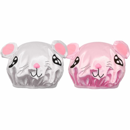 Wrapables Fun Double Layer Waterproof Shower Caps for Kids (Set of 2), Animal Ears Perspective: front