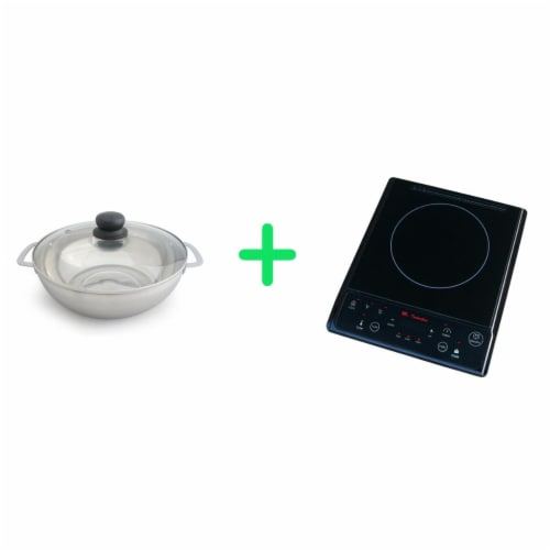 SPT SR-964TB-42B 1300 watts Combination of Induction Cooker Plus Stainless Steel Pot Perspective: front