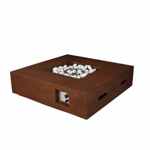 Lexora LB107042SK00000 42 in. Brenta Outdoor Square Gas Firepit Table in Rustic, Brown Perspective: front