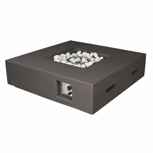 Lexora LB107042SB00000 42 in. Brenta Outdoor Square Gas Firepit Table, Dark Grey Perspective: front