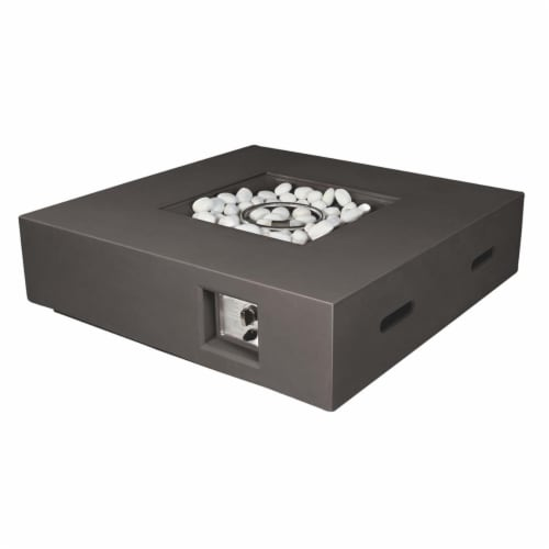 Brenta Outdoor Square Dark Grey Gas Fire Pit Table w/ Round Burner Kit Perspective: front