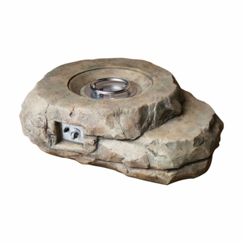 Lexora LK124049UM00000 94 in. Kivi Rock Shaped Fire Pit With Round Burner Kit Perspective: front