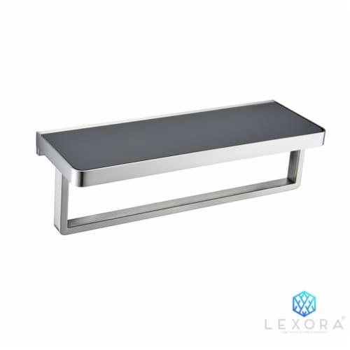 Bagno Bianca Stainless Steel Black Glass Shelf w/ Towel Bar - Brushed Nickel Perspective: front