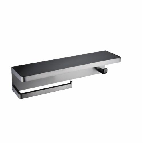 Bagno Bianca Stainless Steel Black Glass Shelf w/ Towel Bar & Robe Hook - Gun Metal Perspective: front