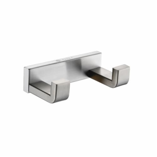 Bagno Bianca Stainless Steel Double Robe Hook - Brushed Nickel Perspective: front