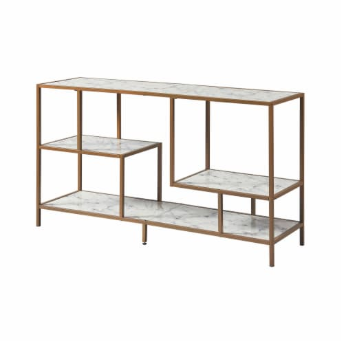 Versanora Wooden TV Stand Unit With Faux Marble/Brass Finish Marmo VNF-00084 Perspective: front