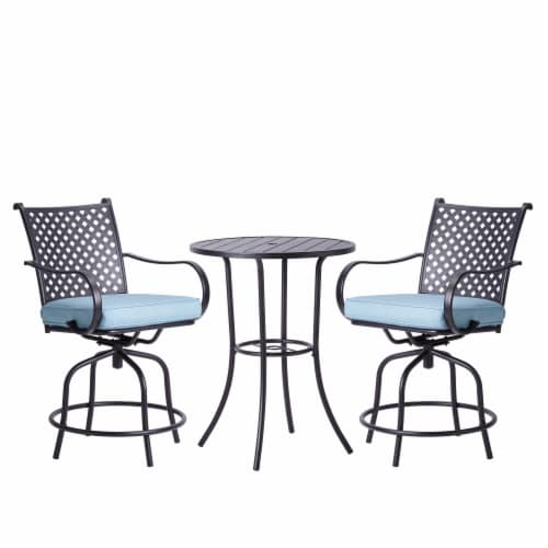 Peaktop Patio Furniture Set Table & 2 Chairs Gray Bistro Set Swivel PT-OF0001 Perspective: front